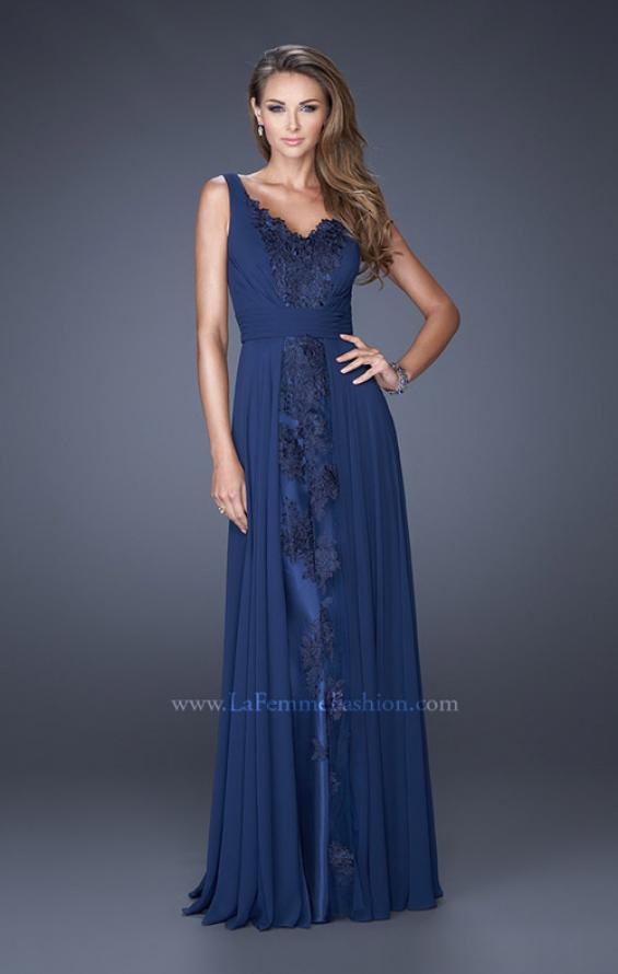 Picture of: Long Chiffon Prom Gown with Lace Panel Detail in Blue, Style: 19181, Detail Picture 1