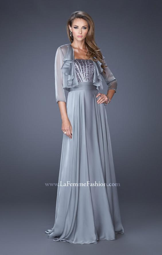 Picture of: Long A-line Chiffon Gown with Matching Jacket in Silver, Style: 19186, Main Picture