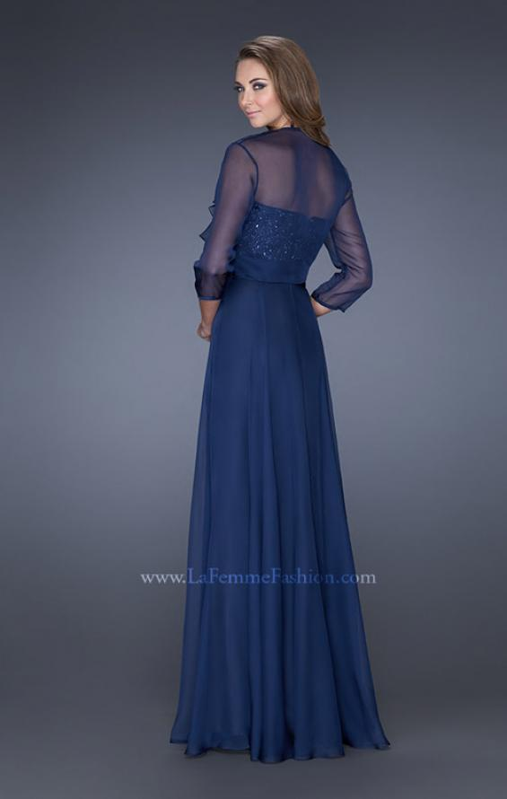 Picture of: Long A-line Chiffon Gown with Matching Jacket in Blue, Style: 19186, Detail Picture 7