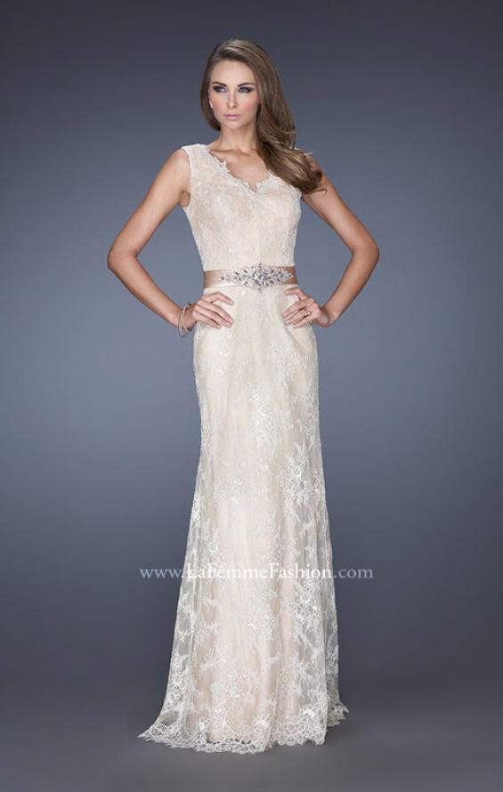 Picture of: Long Lace Prom Dress with Jeweled Ribbon Belt in White, Style: 19191, Main Picture