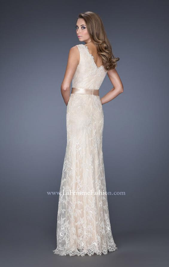 Picture of: Long Lace Prom Dress with Jeweled Ribbon Belt in White, Style: 19191, Back Picture