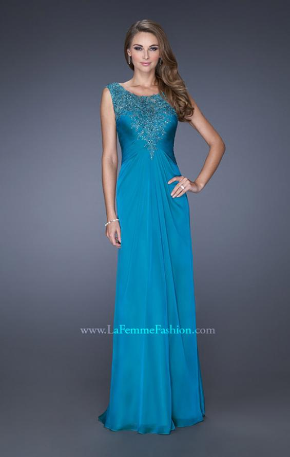 Picture of: Long Chiffon Prom Gown with Lace Embellished Neckline in Blue, Style: 19203, Main Picture
