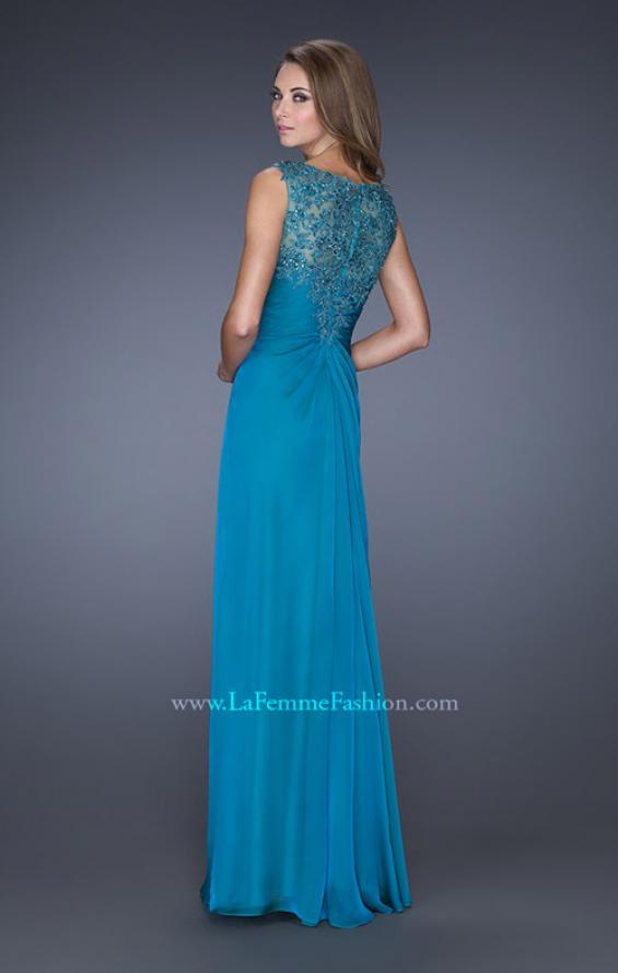 Picture of: Long Chiffon Prom Gown with Lace Embellished Neckline in Blue, Style: 19203, Back Picture