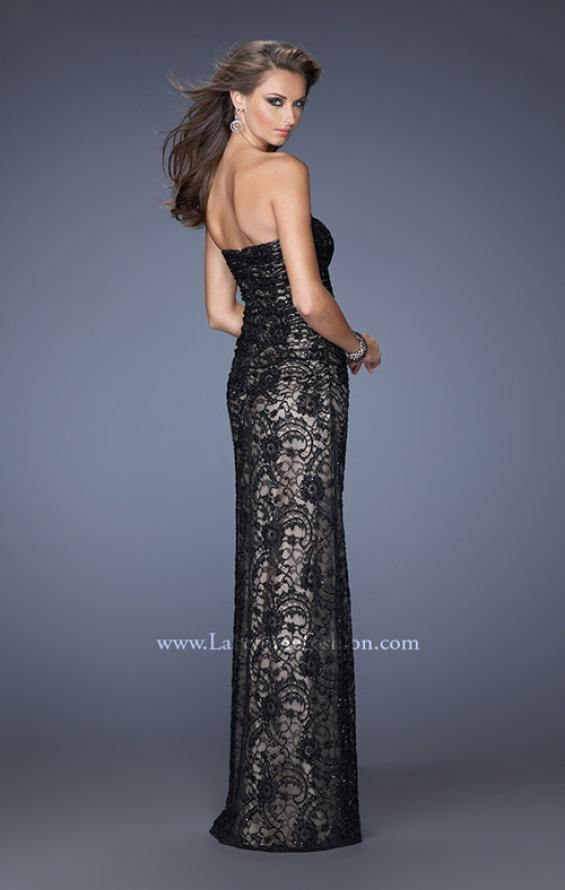 Picture of: Strapless Lace Long Dress with Ruched Bodice, Style: 19210, Back Picture
