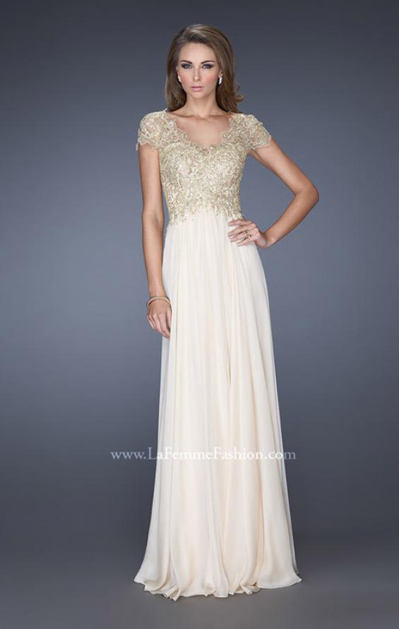 Picture of: Long Chiffon Prom Dress with Lace Bodice, Style: 19213, Main Picture