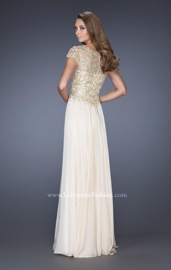 Picture of: Long Chiffon Prom Dress with Lace Bodice, Style: 19213, Back Picture
