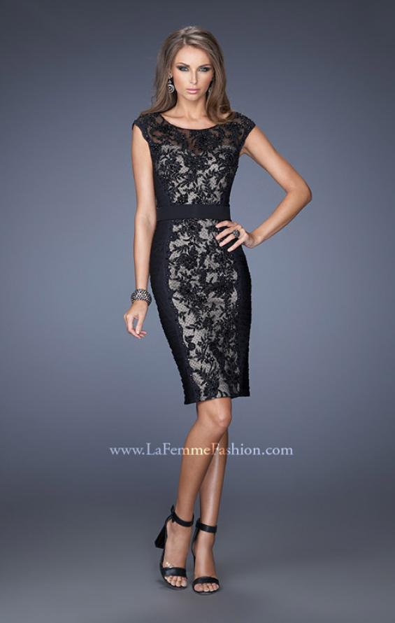 Picture of: Short Dress with Lace Details and Illusion Cap Sleeves in Black, Style: 19215, Main Picture
