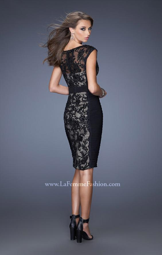 Picture of: Short Dress with Lace Details and Illusion Cap Sleeves in Black, Style: 19215, Back Picture