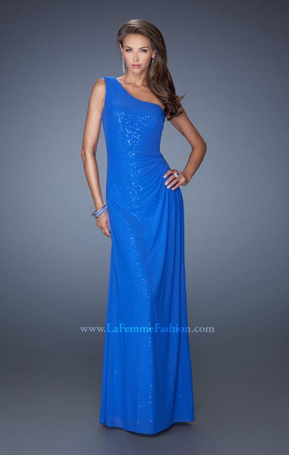 Picture of: One Shoulder Long Sequin Prom Dress with Net Overlay in Blue, Style: 19223, Main Picture