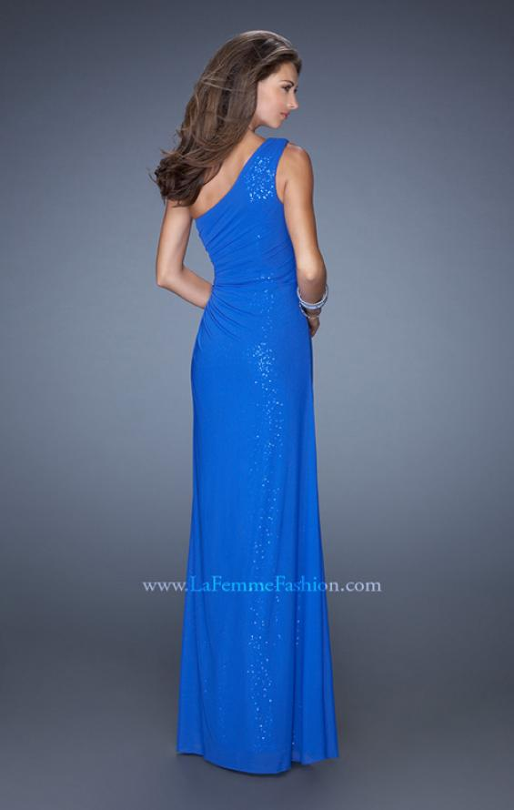 Picture of: One Shoulder Long Sequin Prom Dress with Net Overlay in Blue, Style: 19223, Back Picture
