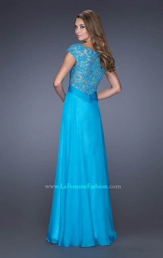Picture of: Long Prom Dress with Fitted Bodice and Illusion Sleeves, Style: 19232, Back Picture