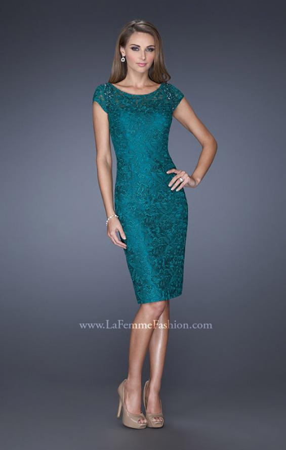 Picture of: Short Prom Dress with Cap Sleeve and Beaded Lace, Style: 19243, Main Picture
