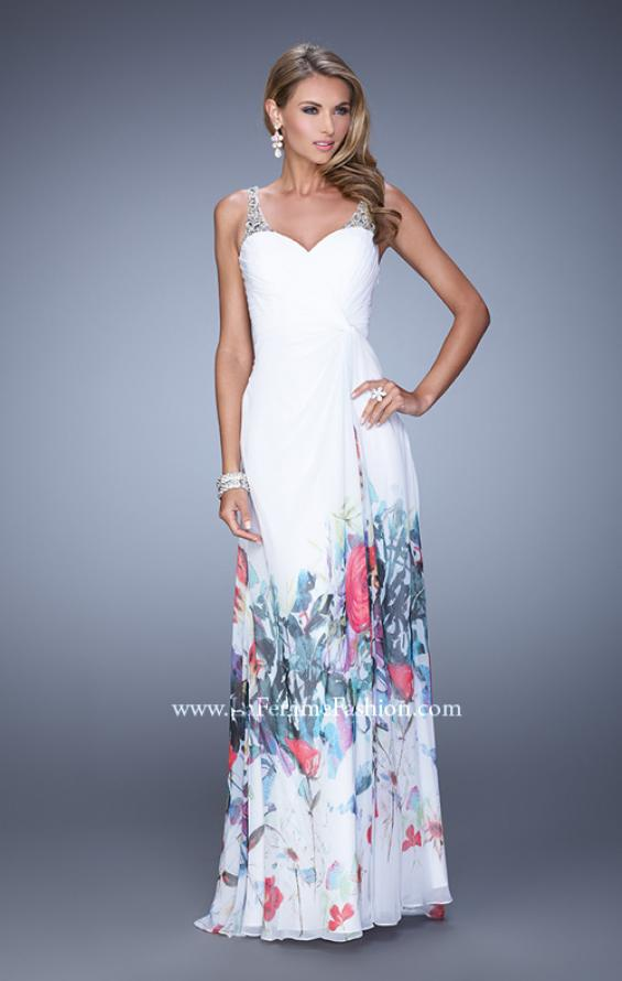 Picture of: Long Chiffon Prom Dress with Bedazzled Illusion Straps in White, Style: 19244, Main Picture