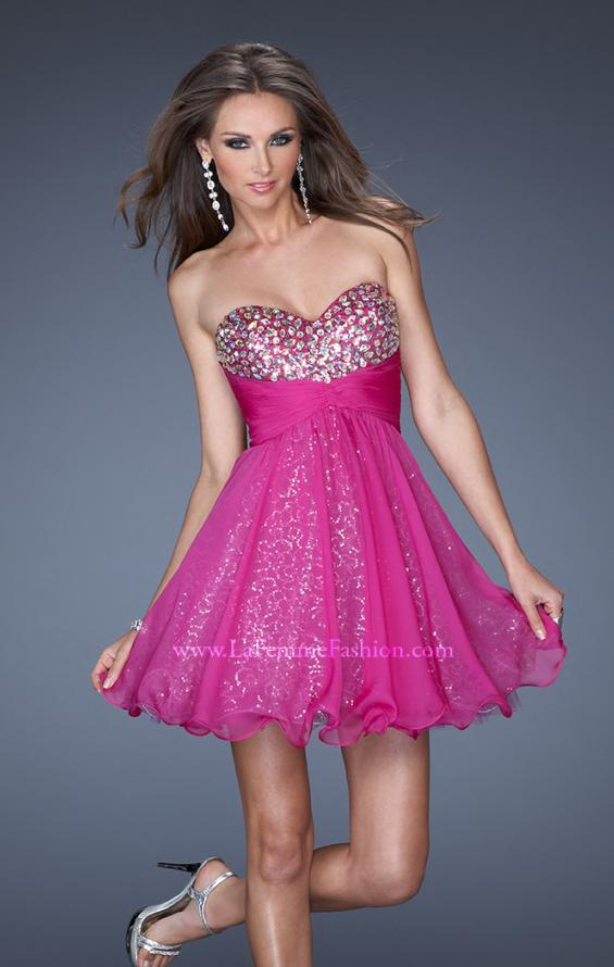 Picture of: Short Strapless Sequin Prom Dress with Beaded Bodice, Style: 19250, Main Picture