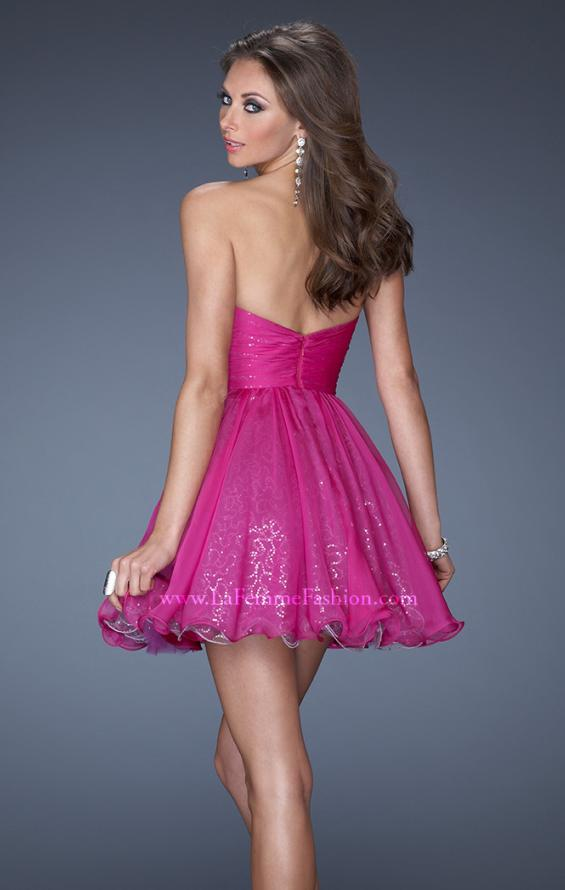 Picture of: Short Strapless Sequin Prom Dress with Beaded Bodice, Style: 19250, Back Picture