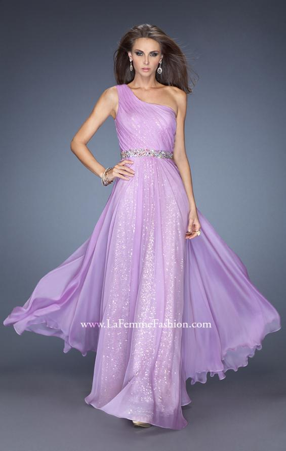 Picture of: One Shoulder Long Sequin Prom Dress with Chiffon Overlay in Purple, Style: 19280, Main Picture