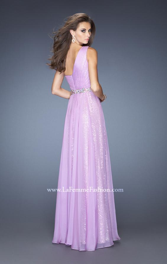 Picture of: One Shoulder Long Sequin Prom Dress with Chiffon Overlay in Purple, Style: 19280, Back Picture
