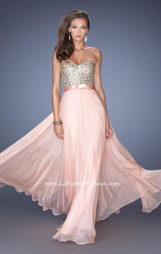 Picture of: Long Strapless Chiffon Prom Dress with Satin Bow Belt in Pink, Style: 19282, Main Picture