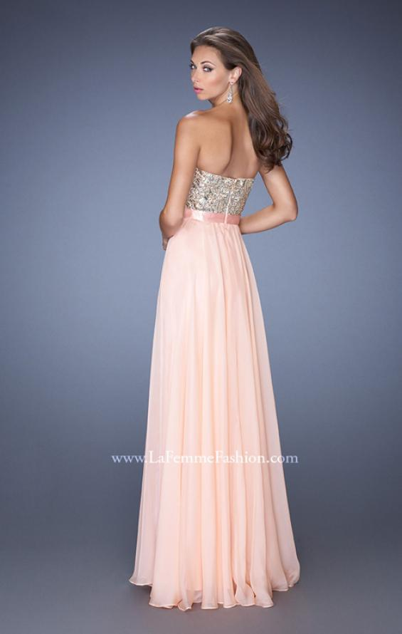 Picture of: Long Strapless Chiffon Prom Dress with Satin Bow Belt in Pink, Style: 19282, Back Picture