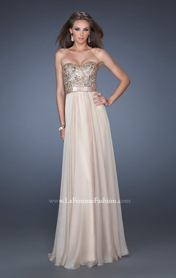 Picture of: Long Strapless Chiffon Prom Dress with Satin Bow Belt in Nude, Style: 19282, Detail Picture 2