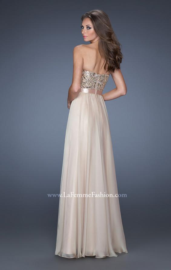 Picture of: Long Strapless Chiffon Prom Dress with Satin Bow Belt in Nude, Style: 19282, Detail Picture 3