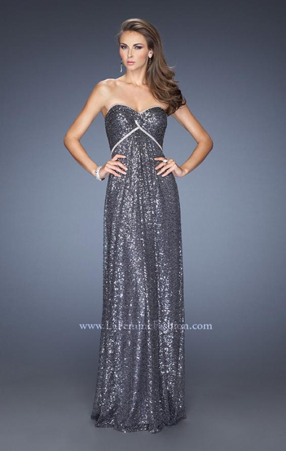 Picture of: Long Strapless Sequin Prom Dress with Rhinestone Detail in Silver, Style: 19299, Main Picture