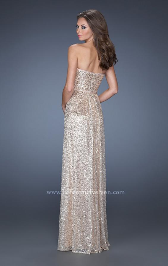 Picture of: Long Strapless Sequin Prom Dress with Rhinestone Detail in Gold, Style: 19299, Back Picture