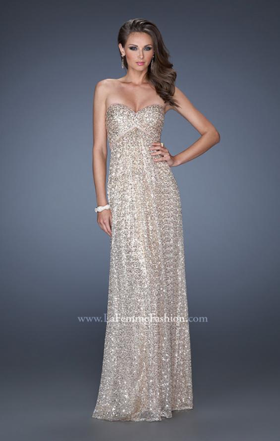 Picture of: Long Strapless Sequin Prom Dress with Rhinestone Detail in Gold, Style: 19299, Detail Picture 1