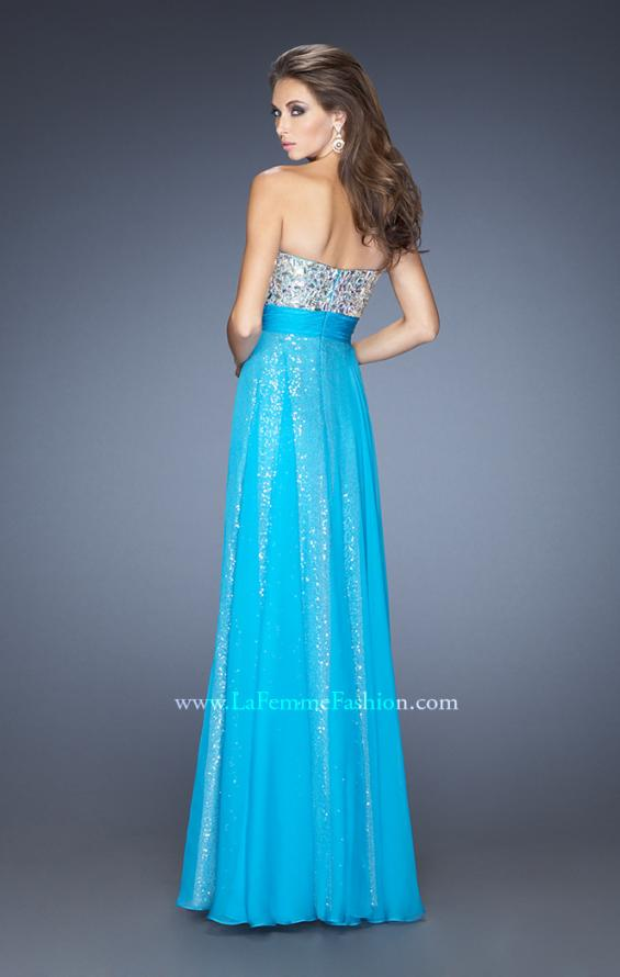 Picture of: Long Strapless Sequin Prom Dress with Chiffon Overlay, Style: 19300, Back Picture