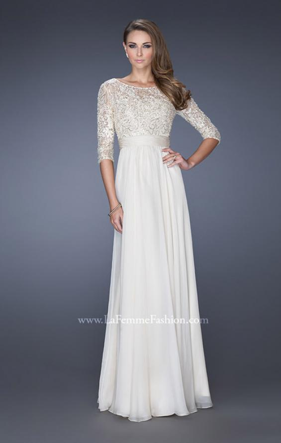 Picture of: Quarter Sleeve Illusion Prom Gown with Beaded Top in White, Style: 19318, Main Picture