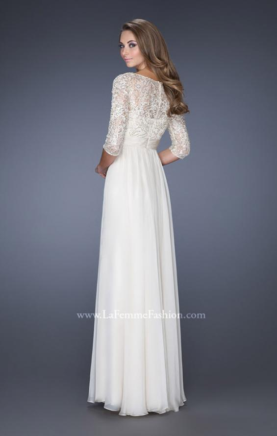 Picture of: Quarter Sleeve Illusion Prom Gown with Beaded Top in White, Style: 19318, Back Picture