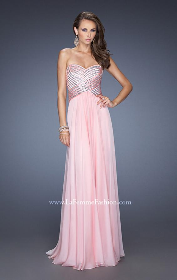Picture of: Strapless Long Chiffon Prom Dress with Bejeweled Bodice, Style: 19321, Main Picture