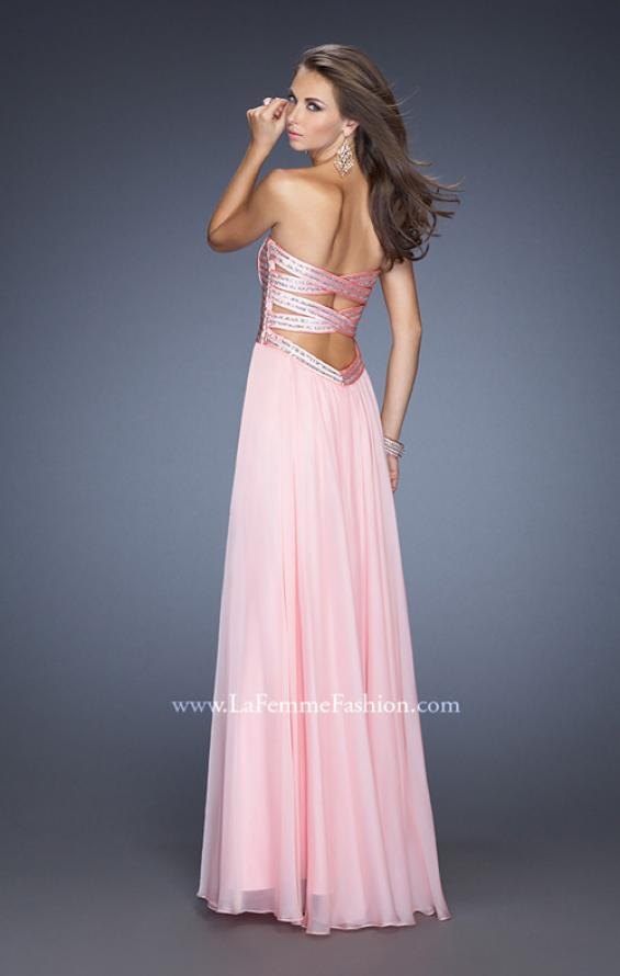Picture of: Strapless Long Chiffon Prom Dress with Bejeweled Bodice, Style: 19321, Back Picture