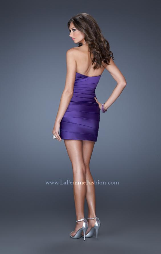 Picture of: Strapless Short Prom Dress with Asymmetrical Ruching in Purple, Style: 19334, Back Picture