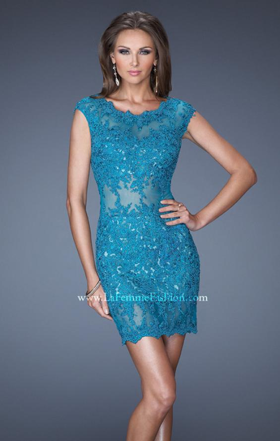 Picture of: Short Prom Dress with Sheer Mesh and Lace Details in Blue, Style: 19335, Main Picture
