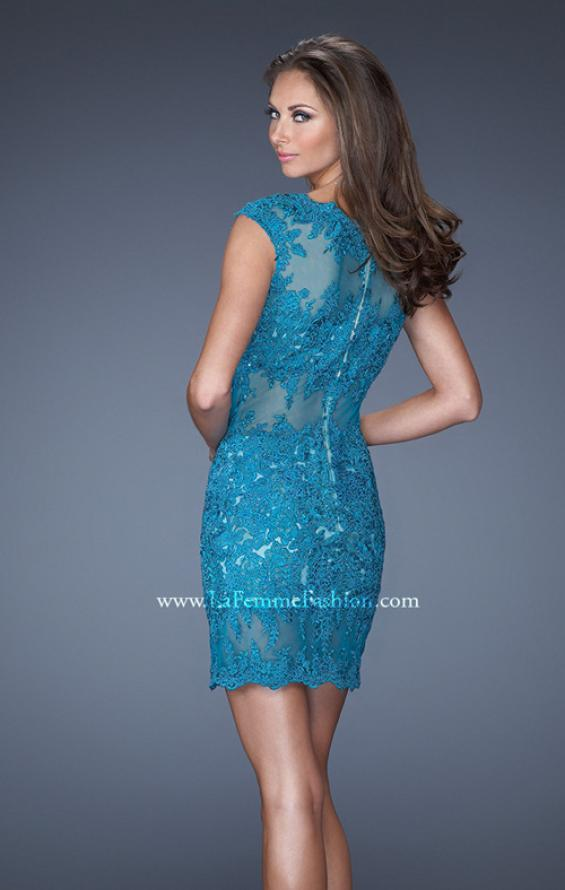 Picture of: Short Prom Dress with Sheer Mesh and Lace Details in Blue, Style: 19335, Back Picture
