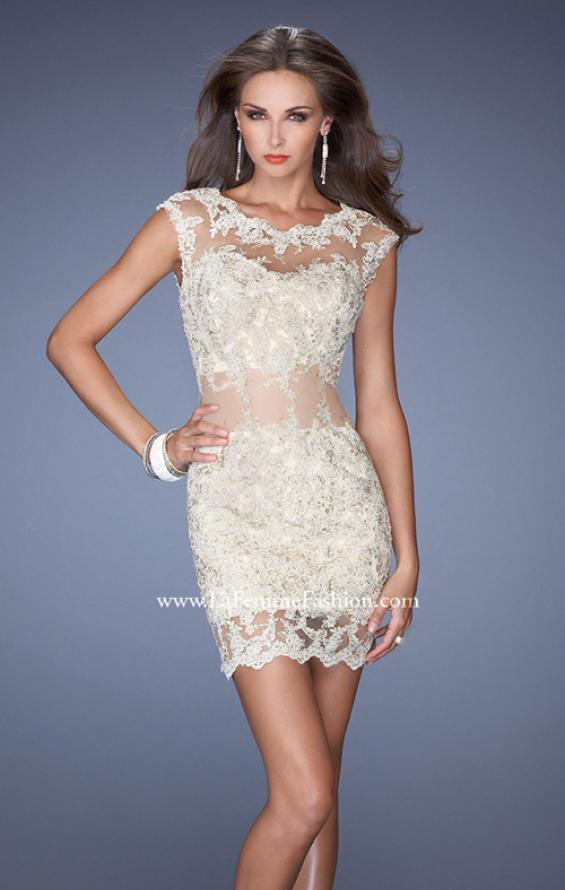 Picture of: Short Prom Dress with Sheer Mesh and Lace Details in Nude, Style: 19335, Detail Picture 1