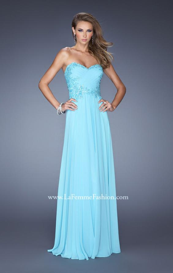 Picture of: Long Strapless Chiffon Prom Gown with Beaded Details in Blue, Style: 19342, Main Picture