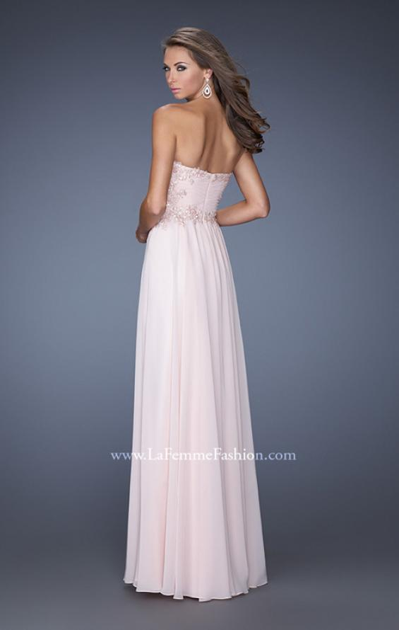 Picture of: Long Strapless Chiffon Prom Gown with Beaded Details in Pink, Style: 19342, Back Picture