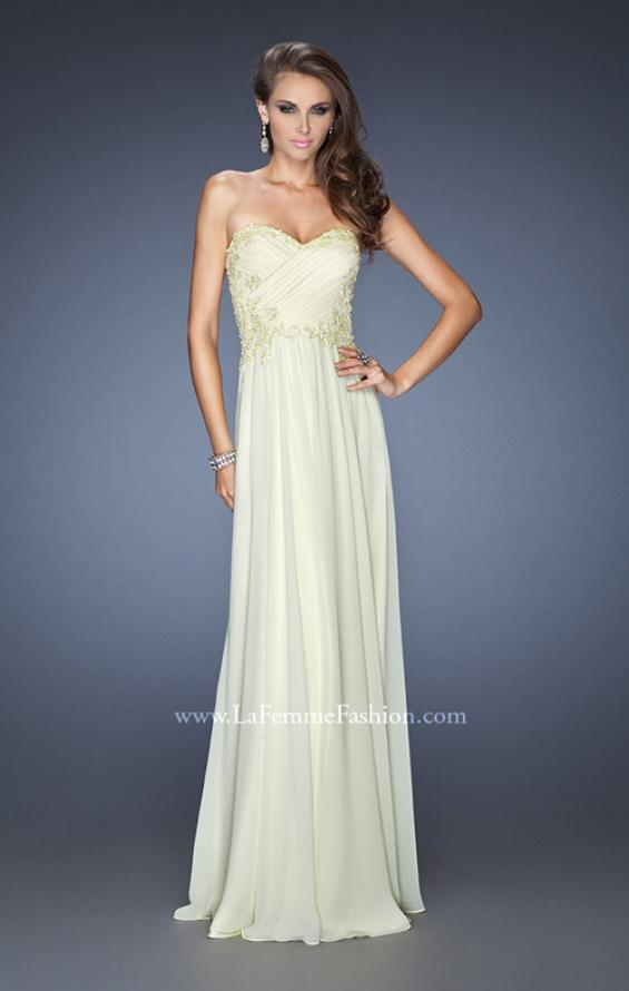 Picture of: Long Strapless Chiffon Prom Gown with Beaded Details in Yellow, Style: 19342, Detail Picture 2