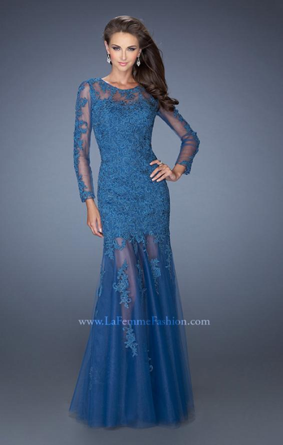 Picture of: Long Sleeve Mermaid Prom Dress with Lace Applique, Style: 19343, Main Picture