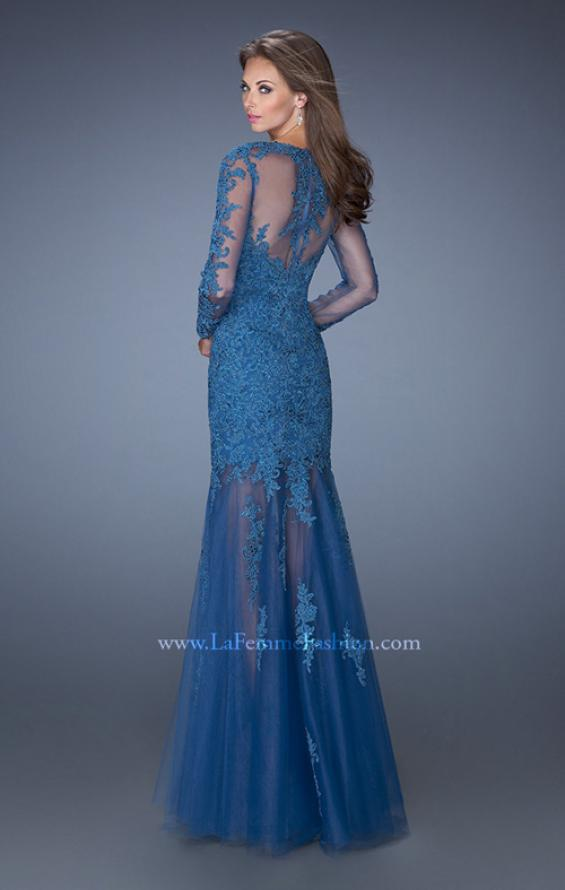 Picture of: Long Sleeve Mermaid Prom Dress with Lace Applique, Style: 19343, Back Picture