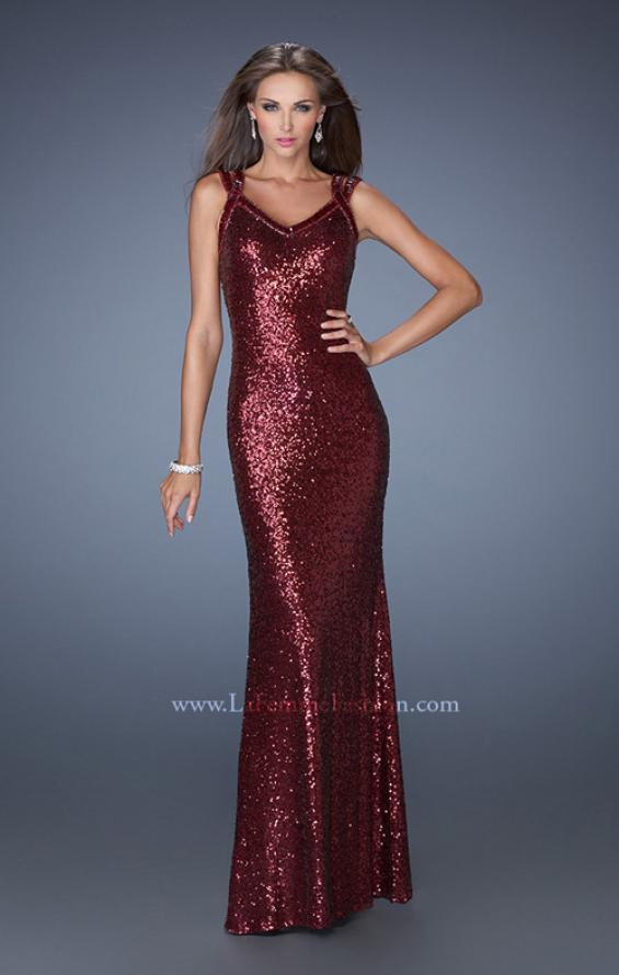Picture of: Long Fitted Sequin Prom Dress with Criss Cross Straps in Red, Style: 19357, Main Picture