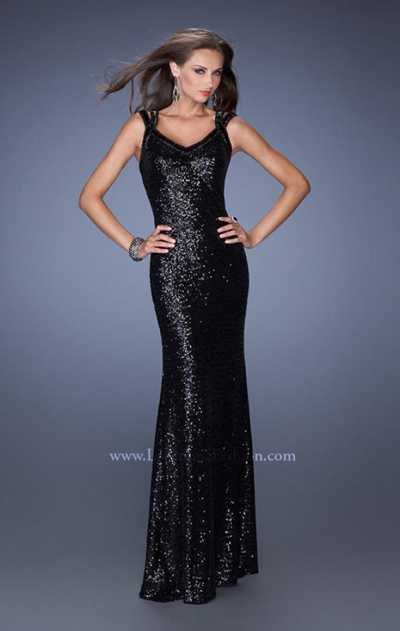 Picture of: Long Fitted Sequin Prom Dress with Criss Cross Straps in Black, Style: 19357, Detail Picture 1