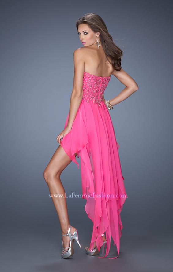 Picture of: High Low Strapless Prom Dress with Embellished Bodice, Style: 19359, Back Picture