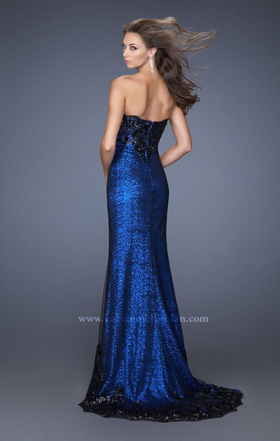 Picture of: Long Strapless Sequin Prom Dress with Lace Overlay in Blue, Style: 19364, Back Picture