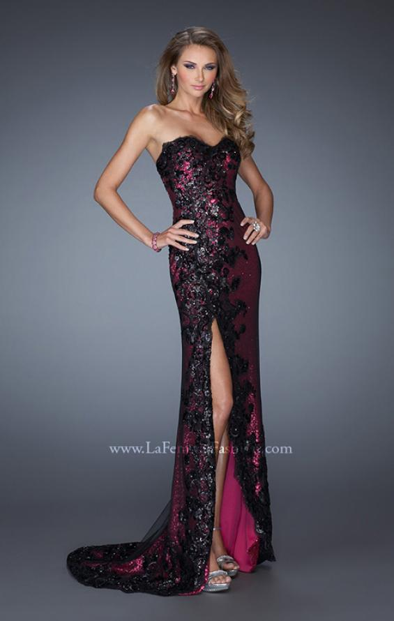 Picture of: Long Strapless Sequin Prom Dress with Lace Overlay in Pink, Style: 19364, Detail Picture 1