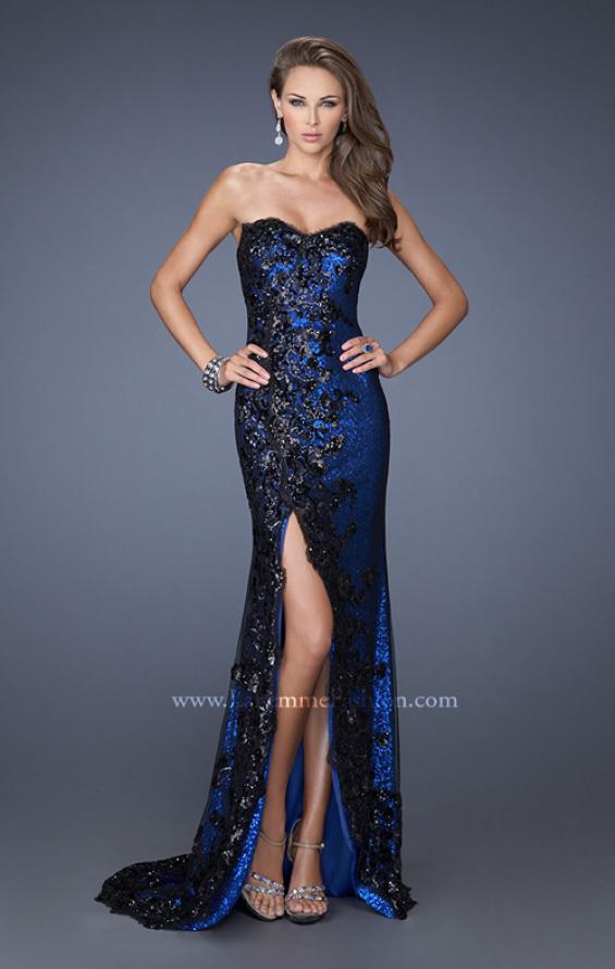 Picture of: Long Strapless Sequin Prom Dress with Lace Overlay in Blue, Style: 19364, Detail Picture 2