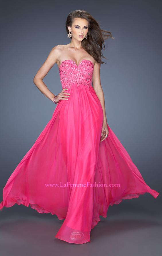 Picture of: Long Chiffon Strapless Prom Gown with Embellished Bodice in Pink, Style: 19366, Main Picture