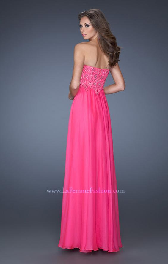 Picture of: Long Chiffon Strapless Prom Gown with Embellished Bodice in Pink, Style: 19366, Back Picture